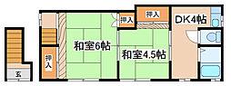 兵庫県神戸市長田区駒ケ林町6丁目の賃貸アパートの間取り