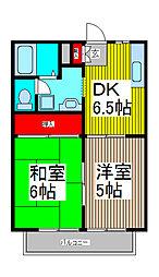 パ−クハイツヨコテ[1階]の間取り