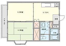 コーポクリスタル[2階]の間取り