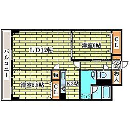 シーゲル清田[6階]の間取り