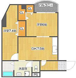 ルミナール加賀屋[4階]の間取り