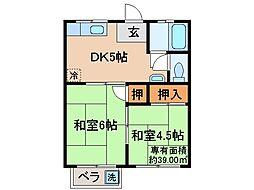 京都府京都市山科区椥辻池尻町の賃貸アパートの間取り