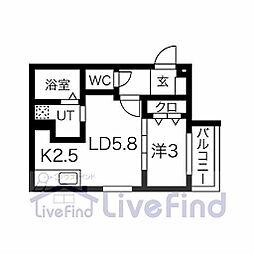 札幌市営東豊線 月寒中央駅 徒歩10分の賃貸マンション 2階1LDKの間取り