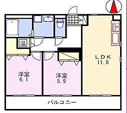 ブレイン福崎 1階2LDKの間取り