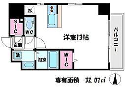 アバンティ桜ノ宮 9階ワンルームの間取り