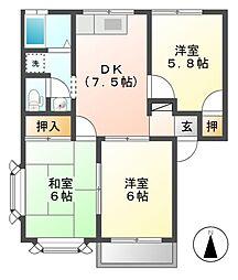 フローラル東和田 B[2階]の間取り