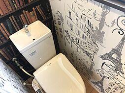 外国のようなオシャレな壁紙のトイレ