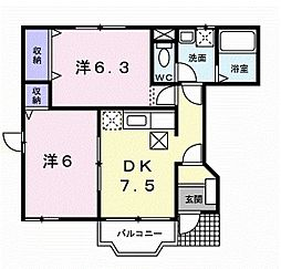 岡山県岡山市中区祇園の賃貸アパートの間取り