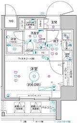 Le'a横濱関内弐番館 3階1Kの間取り