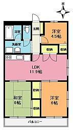 埼玉県上尾市愛宕2丁目の賃貸マンションの間取り