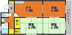 岡山県岡山市北区京町の賃貸マンションの間取り