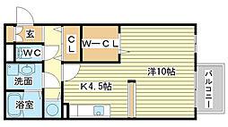 兵庫県姫路市飾磨区細江の賃貸アパートの間取り