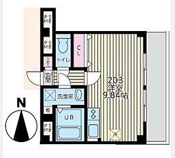 ライフピアモア元町[203号室]の間取り