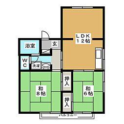 パレーシャル桜川C[2階]の間取り