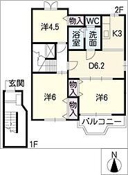 ノーヴァ B[2階]の間取り