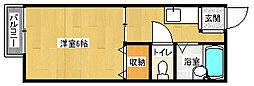 京都府京都市上京区桜木町の賃貸アパートの間取り