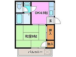 三重県津市鳥居町の賃貸アパートの間取り