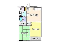 栃木県宇都宮市宝木町2丁目の賃貸アパートの間取り