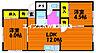 間取り,2LDK,面積50.38m2,賃料4.5万円,JR山陽本線 西川原駅 徒歩21分,JR山陽本線 高島駅 徒歩24分,岡山県岡山市中区中島