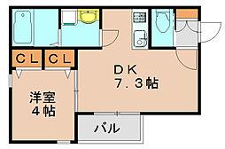 レユシール千代博多[2階]の間取り
