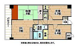 福岡県北九州市小倉南区田原新町2丁目の賃貸マンションの間取り