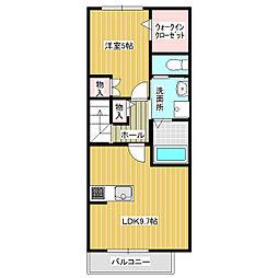 (仮称)みどりの東新築AP 2階1LDKの間取り
