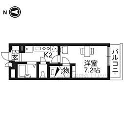 レオパレスUrban桂坂 4階1Kの間取り
