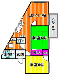 アトム城山[1階]の間取り