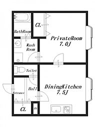 クレールヒロタ2[1階]の間取り