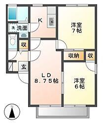 長野県長野市上松4丁目の賃貸アパートの間取り