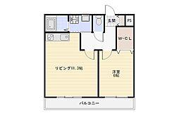 Osaka Metro谷町線 長原駅 徒歩2分の賃貸マンション 1階1LDKの間取り