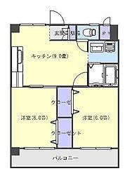 愛媛県松山市宮西2丁目の賃貸マンションの間取り