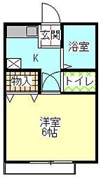 神奈川県大和市中央林間3丁目の賃貸アパートの間取り