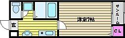 兵庫県芦屋市三条南町の賃貸マンションの間取り