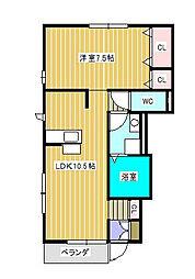 ボヌール新松戸A棟[1階]の間取り