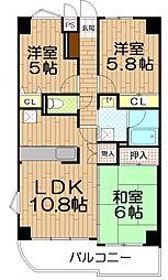 埼玉県和光市白子2丁目の賃貸マンションの間取り