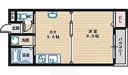 Primoなかもず 6階1DKの間取り