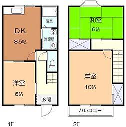 [テラスハウス] 神奈川県座間市緑ケ丘4丁目 の賃貸【/】の間取り