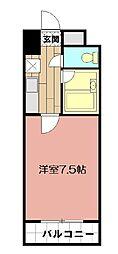 オリエンタル小倉南 壱番館 5階1Kの間取り