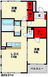 Confort−IK(コンフォートアイケイ)[406号室]の間取り