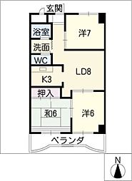 センターヴィレッジ飯田[4階]の間取り