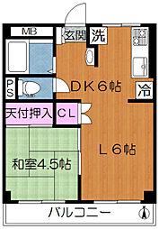 東京都荒川区東尾久2丁目の賃貸マンションの間取り