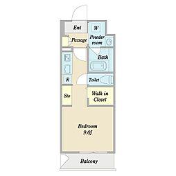 L'Allure 8階ワンルームの間取り