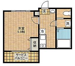 アルカサール武蔵新城[102号室]の間取り
