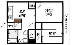 大阪府大阪市生野区中川西1丁目の賃貸マンションの間取り
