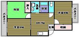 大阪府富田林市錦織東2丁目の賃貸マンションの間取り