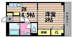 岡山県倉敷市宮前の賃貸マンションの間取り