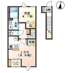 袖ケ浦市奈良輪890番新築アパート 2階1LDKの間取り