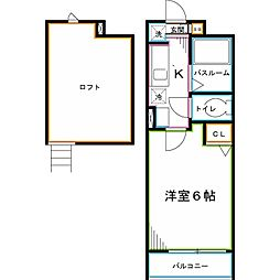 JR中央本線 東小金井駅 徒歩8分の賃貸アパート 1階1Kの間取り