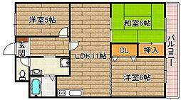 大阪府高槻市萩之庄5丁目の賃貸マンションの間取り